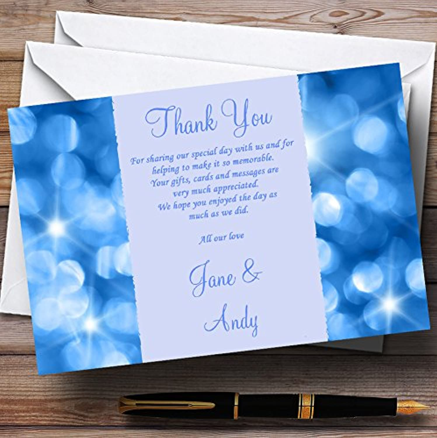 Twinkling bluee Lights Personalised Wedding Stationery Thank You Cards