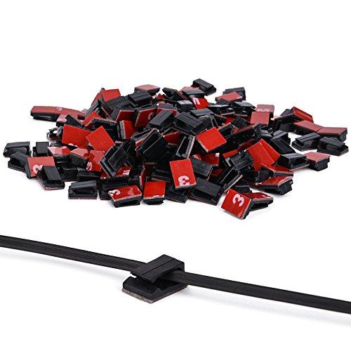 Ninonly Clips de Cable 3M Adhesivo 200 pcs Grapas para Cable Organizador de Cable Alambre Organizadores para Pared Coche Abrazadera de Clips en Hogar, Oficina y Coche