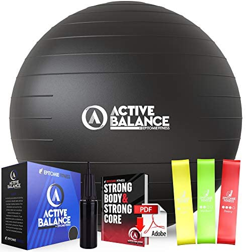 Active Balance Exercise Ball with Resistance Bands Hand Pump Premium Balance Ball for Fitness product image
