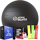 Active Balance Exercise Ball with Resistance Bands & Hand Pump – Premium Balance