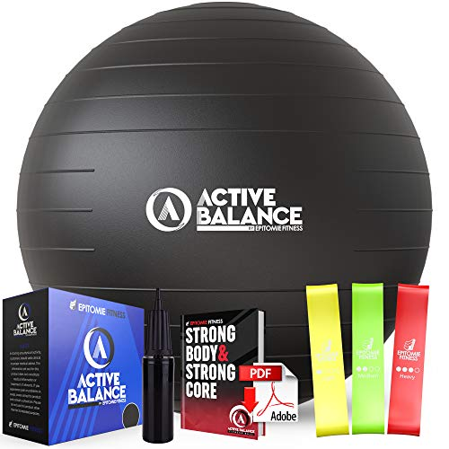 Active Balance Exercise Ball with Resistance Bands & Hand Pump – Premium Balance Ball for Fitness, Health, Relief & More – 65-cm No-Slip Stability Ball by Epitomie Fitness Black