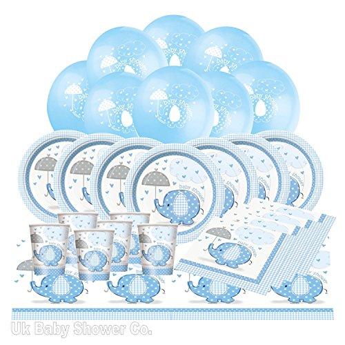 Uk Baby Shower Co – Lot de vaisselle jetable pour fête prénatale motif éléphant et parapluie, bleu pastel