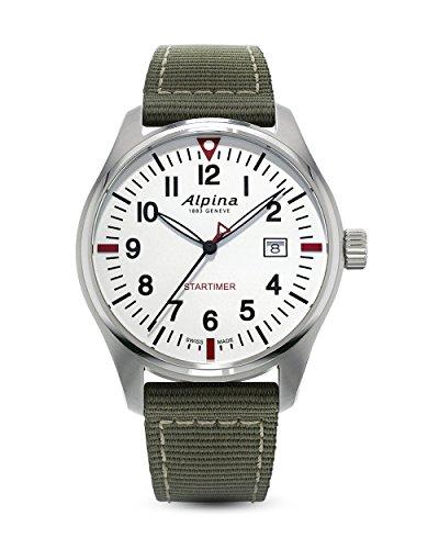 Montre à Quartz Alpina Startimer Pilot, 42mm, Blanc/Vert, Jour, AL-240S4S6