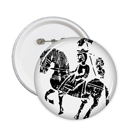 DIYthinker China Antigua Cultura wei y Jin Dynasties Caballo ilustración Pattern Round Pins Badge botón Ropa decoración Regalo 5pcs