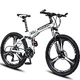 RSTJ-Sjef Bicicleta De Montaña De 26 Pulgadas para Hombres, Mujeres Y Adultos, Bicicleta Plegable De Acero con Alto Contenido De Carbono con Freno De Disco Hidráulico Y Amortiguador Central,24 Speed