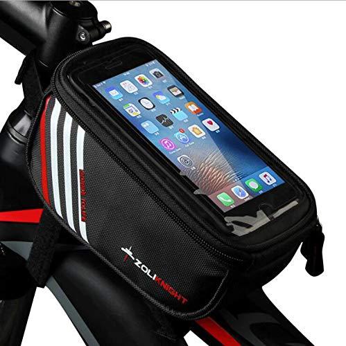 YUYAXBG Fashion Bike Frame Bag Fietstas Dubbele Rits Ontwerp Zijde Met Net Pocket Ingebouwde Pe Katoen Gevoelige Touch Screen Voor Mobiele telefoons Onder 5.5 Inch, Zwart