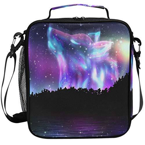 Galaxy Wolf Lunch Box Forest 3D Animals Forest Wolf Insulated Lunch Bag Reusable Cooler Meal Prep Bags Lunch Tote with Shoulder Strap for Office Adults School Kids Girls Boys Teens