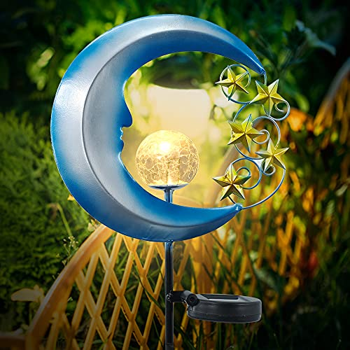 HAVEONE Garden Solar Light Outdoor Decorative, Metal Moon Stars Crackle Glass Globe Landscape Lights for Pathway, Lawn, Patio, Yard