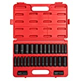 Sunex 5153DD, 1/2 Inch Drive Master Impact Socket Set, Double Deep, 29-Piece, SAE/Metric, 7/16' - 1-1/4', 10mm-27mm, Cr-Mo Steel, Radius Corner Design, Dual Size Markings, Heavy Duty Storage Case