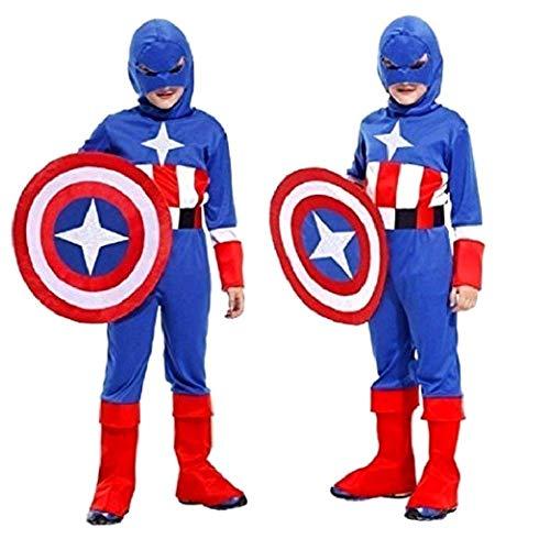 Costume Capitan America Bambino Carnevale Vestito Supereroe Colore Blu (Taglia Xl) 9-12 Anni Travestimento Cosplay Ottimo Regalo Per Natale O Compleanno