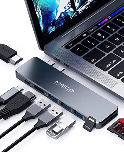 MECO ELEVERDE 8-in-2 USB-C Hub, Dual HDMI MacBook Adapter Type C Adapter mit 2*4K-HDMI, 1*100W PD USB-C, 3*USB 3.0, SD/TF kartenleser, für MacBook Pro 2016-2020, 13/15/16, MacBook Air 2018 - 2020