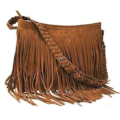 CHIC DIARY Faux Suede Fringe Tassel Crossbody Messenger Bag Women Hobo Shoulder Bags Handbag (Brown)
