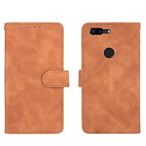 ZHIWEI Caso del tirón del teléfono Funda de Billetera para OnePlus 5T, Cartera de Cuero PU con Tapa de la Tarjeta de crédito Cubierta Protectora a Prueba de Golpes para OnePlus 5T (Color : Brown)