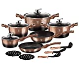 Berlinger Haus - Batteria da cucina, 15 pezzi, edizione Metallic Line Rose Gold Noir, alluminio