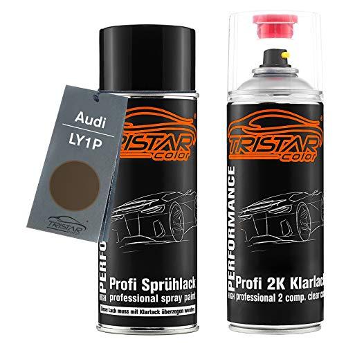 TRISTARcolor Autolack 2K Spraydosen Set für Audi LY1P Dakotagrau Metallic Basislack 2 Komponenten Klarlack Sprühdose