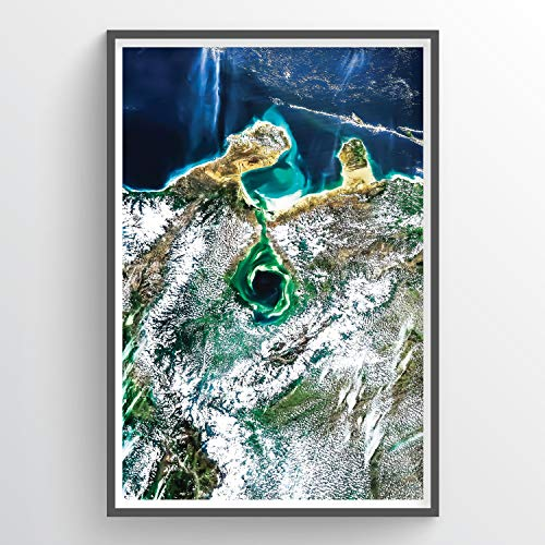 Point Two Design   Lake Maracaibo, Venezuela Satellite Photography Art Print 24X36 Unframed Without Title Block   Living Room Decor and Office Decor - Photography of Cities from Space