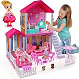 aotipol Dollhouse with Cloister, Stairs and Yard - Doll House and Furniture, Accessories, Pets, Doll - DIY Dollhouses Pretend Play Toys Building Toys for Girls Kids Indoor