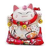 貯金箱 開運招き猫 ラッキー アイテム 風水 猫の置物オブジェ エンジェル (ピンク(14cm 14cm 15cm))