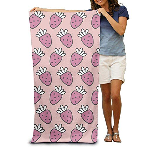 KIMIOE Toalla Toalla de Playa Painted Pink Strawberry Fruit Beach Towels Novelty Soft Eco-Friendly Printing Design Camping,Non-Toxic décor 31'x 51'in