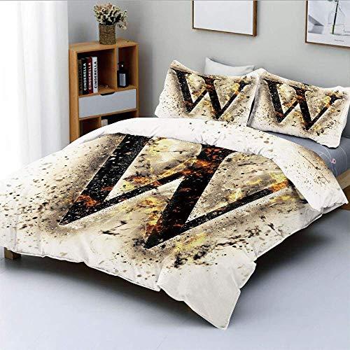Juego de funda nórdica, símbolo W en llamas Fondo borroso quemado Imagen de calor Diseño de humo Impresión Decorativo Juego de cama de 3 piezas con 2 fundas de almohada, marrón negro anaranjado, el me