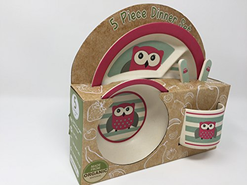 Pink Owl 5-PC Organic Dinner set by Beriwinkle