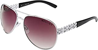 Mestige Women's Sunglasses Aviator Sunset Dreams In Silver With Swarovski Crystals Silver