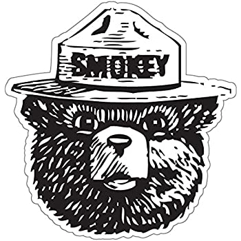 "Pride Sticker StickyChimp Smokey the Bear Firefighting WILDFIRE sticker 4"" x 4"",Black"