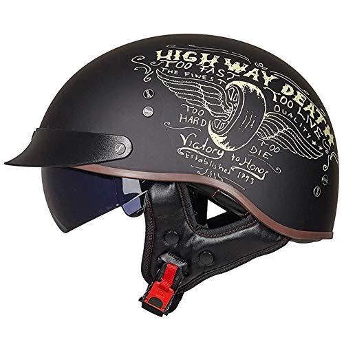 Casco de Motocicleta de Media Cara Tamaño Unisex-Adulto con Visera Solar y Lanzamiento Rápido, ECE Aprobado Adecuado para Harley ATV UTV Street Coche Scooter Vehículo Todoterreno,D,XXL=(61~62CM)