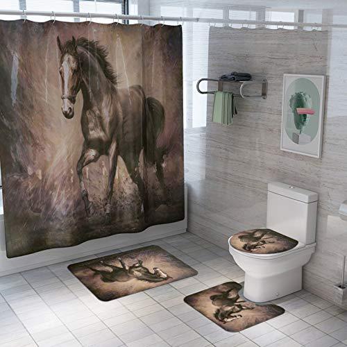 ZLWSSA Pentium Horse 3D Print Polyester Shower Curtain Waterproof With 12 Hooks Pedestal Rug Lid Toilet Cover Bath Mat W180xH200cm