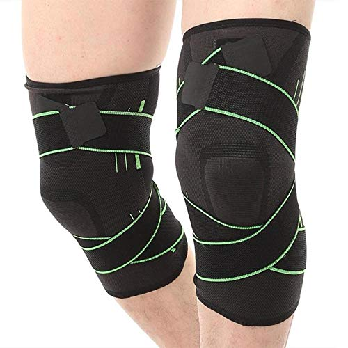 Gifftiy Knieschoner 2Pc Nonslip 3D Pressurized Fitness Running Cycling Bandage Knee Support Braces Elastic Sports Protective Compression Pad Sleeve-Green_L