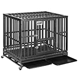 PUPZO Heavy Duty Dog Crate Pet Kennel Strong Steel with Four Wheels for Medium and Large Dogs,Easy to Install Outdoor Indoor Use (42-inch)