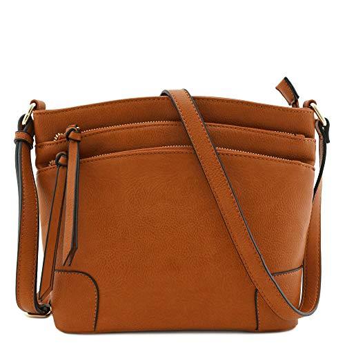 Triple Zipper Pocket Medium Crossbody Bag (Tan)