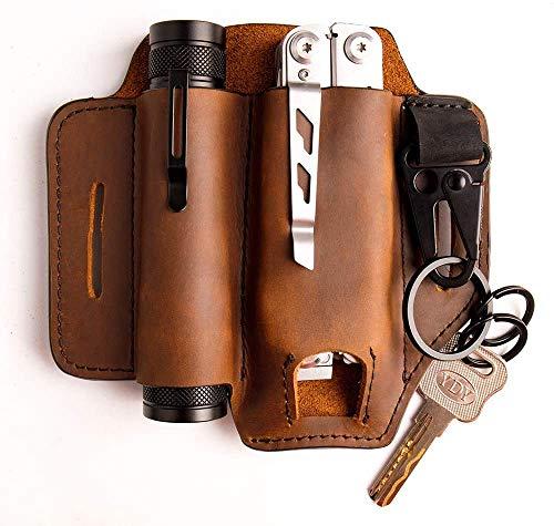 Funda de cuero, para cuero-hombre multi herramienta EDC bolsillo organizador con soporte para llave para cinturón y linterna bolsa multiherramienta (marrón)