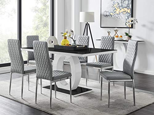 Giovani Modern Black/White High Gloss Glass Dining Table Set and 6 Contemporary Milan Chairs Set (Dining Table + 6 Grey Milan Chairs)