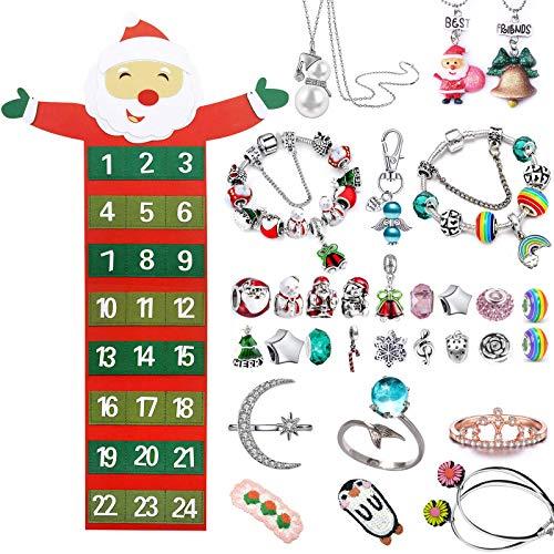 Hook Calendario dell'Avvento per bambine, gioielli per bambini, calendario dell'Avvento da riempire, 2020, Babbo Natale da appendere con 24 tasche da riempire, braccialetto, collana, anelli, angelo