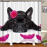 hdrjdrt Bulldog francés baño Cortina de baño Cortinas de Ducha de Tela Impermeable Cortina de Ducha Divertido Cortina de Ducha Cortina de Ducha