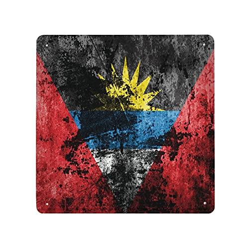 DECISAIYA Retro Blechschild Flagge von Antigua & Barbuda auf schmutzigem Papier Geschenk-Idee für Nostalgie-Fans,aus Metall,Vintage-Dekoration,30x30cm