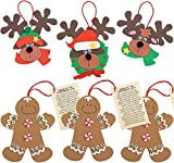 Christmas Crafts Ornaments Foam Crafts Kit (12 Pack) Legend of Gingerbread Man & Reindeer for Christmas Tree - Crafts for Kids, Fun Home Xmas Party Activities by 4Es Novelty