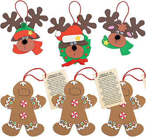 4E's Novelty Christmas Crafts Ornaments Foam Crafts Kit (24 Pack) Legend of Gingerbread Man & Reindeer for Christmas Tree - Crafts for Kids, Fun Home Xmas Party Activities