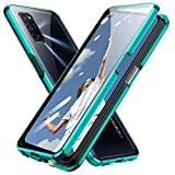 Jonwelsy Hülle für Oppo A52, Magnetische Adsorption Metall Stoßstange Flip Cover mit 360 Grad Schutz Doppelte Seiten Transparent Gehärtetes Glas Handyhülle für Oppo A52 (Grün)