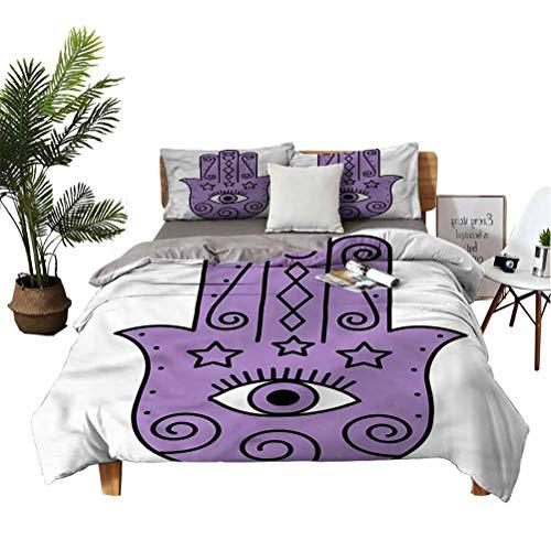 SUZM Hamsa 3-Piece Houseware Bed Covers Bohemian Hippie Doodle Eye Deep Pocket Fully Elastic All Around King