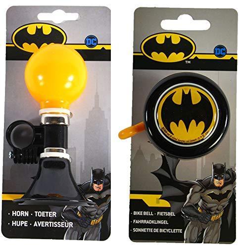 HM-Active Batman Fahrrad-Set bestehend aus Batman Fahrradhupe + Batman Fahrradklingel für Kinderfahrräder