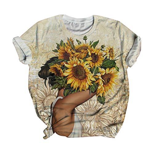 Best Price Toimothcn Funny Tops, Men Women 3D Sunflower Print Short Sleeve T-Shirt Tie Dye Tops(2-Beige,Small)