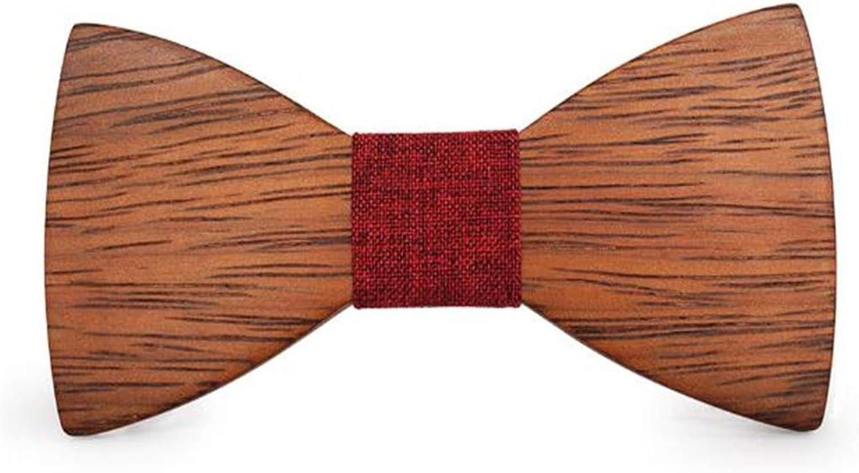 Men's Shape Wood Bow Tie Creative Bowtie Present for Men (color   Red, Size   M)