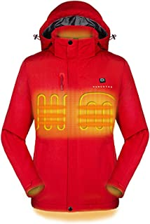 Venustas [2019 Upgrade Women's Heated Jacket with Battery Pack, Heated Coat with Detachable Hood and Waterproof& Windproof