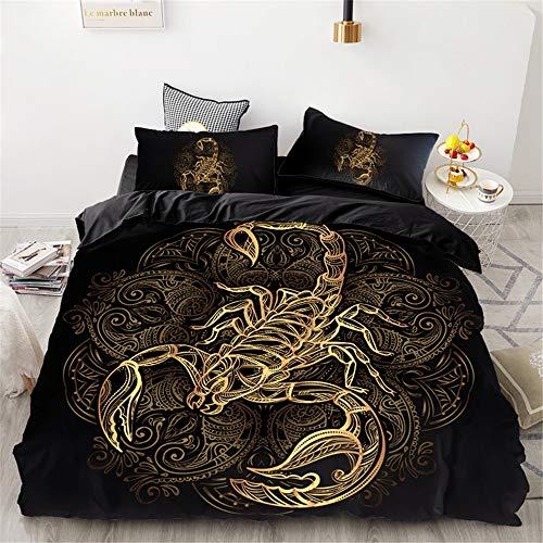 Meiju Bettwäsche-Set - Mikrofaser Bettbezug & Kissenbezug - Bettbezug mit Reißverschluss Schließung - 3D Exotisch Bedrucktes Bettwäsche Set (140x200cm (2pcs),Skorpion)