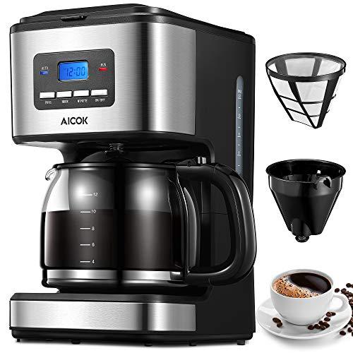 Aicok Cafetera, Cafetera Goteo, Cafetera Goteo Programable, Cafetera Goteo Filtro Permanente, Jarra de Vidrio, 1.5 Litros, 12...