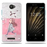 FUBAODA Coque pour BQ Aquaris U Lite, [Fille et Chat] Transparent Silicon Clear TPU Slim Fit...