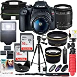 Canon EOS Rebel T7 DSLR Camera with EF-S 18-55mm f/3.5-5.6 iii Lens Plus Double Battery Tripod Cleaning Kit and Deluxe Case Accessory Bundle