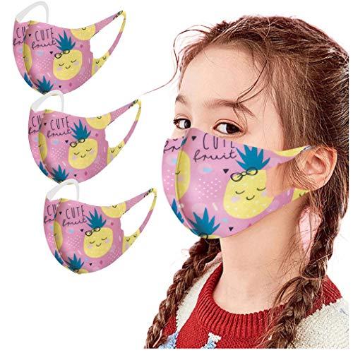 Blingko 3 Stück Kinder Mundschutz Wiederverwendbar Lustiger 3D-Druck,Sommer Atmungsaktive Face Bandana Waschbar für Kinder Jungen und Mädchen Outdoor Elastic Ear Loop (A, 3pcs)